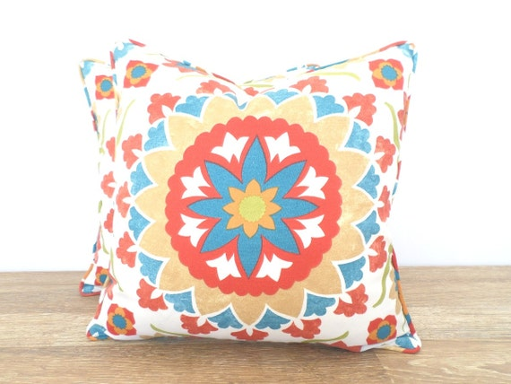 Red outdoor pillow cover 18x18, ikat cushion case for outdoor bench, red and teal outdoor pillow tribal decor, Moroccan cushion cover