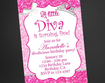 Little Diva pink glitter birthday invitation/Little Diva birthday invitation/Little Diva birthday/Girls birthdayFREE Thank You Card