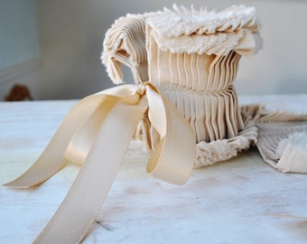 Hand crafted detachable cuffs with satin ribbon in Beige/More colors and styles/Ruffled/Ruffle detail/Jacket cuff/High fashion/rusteam