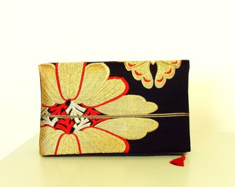 3 ways Vintage KIMONO clutch silk gold brocade OBI black red gold butterfly casual formal ready to ship
