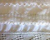 "3 large Pillowcases WHITE crochet edge 36x21"""