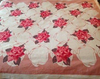 ROSES Tablecloth 62x51 vintage Bright colors cotton