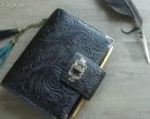 planner binder, gothic flower, black flourish, leather binder,  leather planner, planner cover, gothic journal, black blanner, handstitched