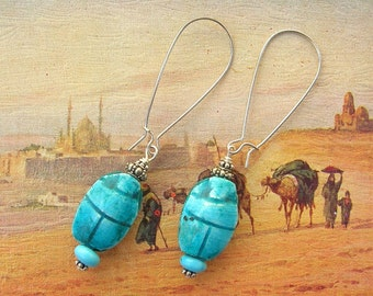 Egyptian Scarab Earrings, Turquoise & Sterling Silver Beads, Long Wires, the Egyptian Collection, by SandraDesigns