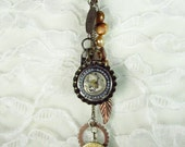 Steampunk Charm Necklace - Watch movement, pearls, gears, leaves - Steampunk necklace, Steampunk Jewelry