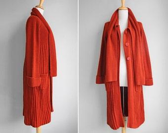 SALE Vintage Rust Sweater Cardigan- Red, Orange- Long Midi Rib Knit Cardigan- Size Small or Medium S M