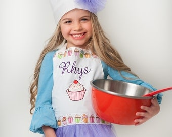 Cookies n Cupcakes -- Personalized Kids Apron with Chef Hat