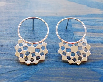 Mashrabiya Ring Stud No 1. Handmade Modern Geometry Silver Lace Earrings. Architecture Inspired Contemporary Design. Recycled Silver Studs.