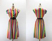 LG Vintage Dress - Neon Rainbow Stripes