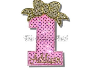 Bow and Numbers  Pink Sequins and Gold Sequins......... Embroidered Iron on patch, choose your number