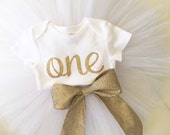 Cursive gold one bodysuit | with white tutu | gold tutu bow | gold girls first birthday outfit | exclusive Paisley Prints design