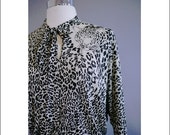 Vintage 70s Cream/Black Tiger Dress Virginie Paris
