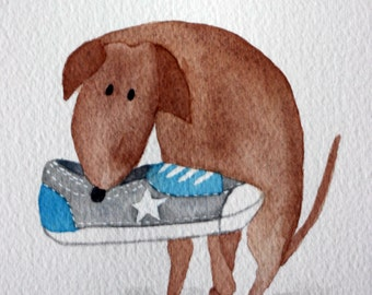 Whimsical original watercolor, dog with sneaker, brown dog, turquoise and grey, converse, children's art, nursery art