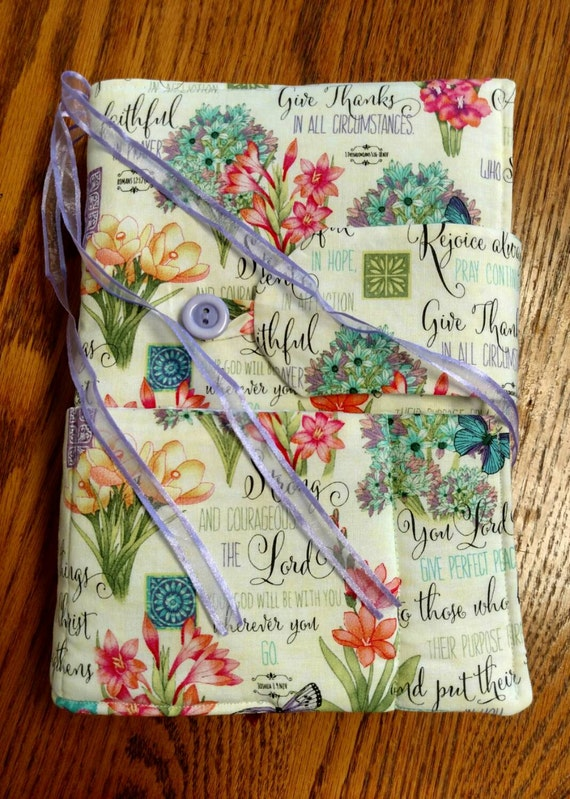 Fabric Book Cover With Pocket : Items similar to fabric faith inspired bible book cover