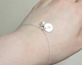 Cute small single disc Bracelet  with Pearl  - Sterling Silver, engraved bracelet ,simple wear ,  birthday gift  , for her, personalize gift