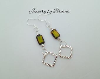 Green Czech Glass Beaded Earrings