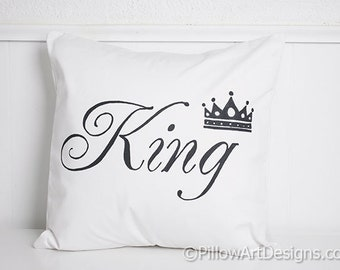 King Pillow Cover with Crown Black and White Hand Painted Fully Lined Made in Canada