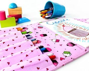 Pink Cupcakes Crayon Artist Case, Ready To Ship, Crayon organizer, Coloring wallet, Crayon and paper holder, Crayon bag for kids