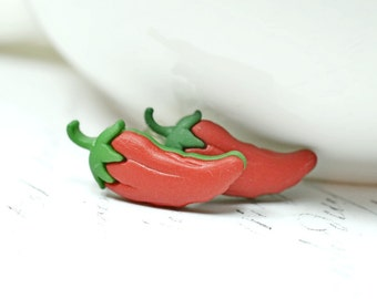 Chili Pepper Earrings, Red Hot Chili Peppers Studs, Vegetable Jewelry, Vegetarian Vegan Farmhouse Chic Food Jewelry
