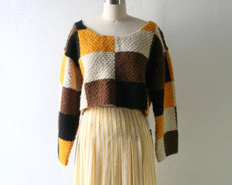 Vintage Wool Colorblock Crop Sweater - Yellow Black White Brown
