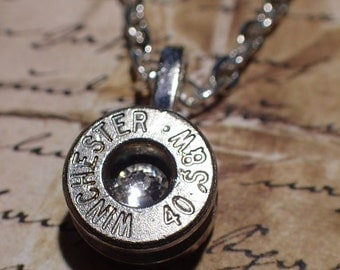Bullet necklace 40 caliber silver nickel  bullet casing with crystal sapphire blue