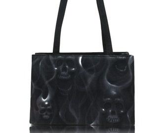 "USA Handmade Bag Shoulder Bag With ""SKULLS On Fire"" Halloween Pattern Handbag With Top Snap Closure, COTTON, New"