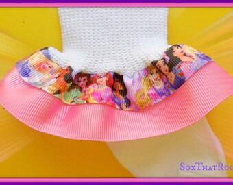Disney PRINCESS Ribbon Double Ruffle girls Socks -custom ribbon color -Snow White, Aurora, Belle, Cinderella, Jasmine, Ariel, Rapunzel,Tiana