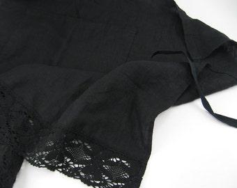 Handmade Linen Half Apron with Lace --- Black