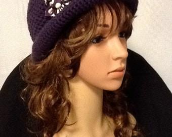 Crocheted Purple Cloche