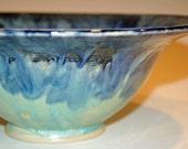 Ceramic Bowl, Pottery Handmade, Ceramics and Pottery Bowl, Blue and Green, Pasta Bowl, Fruit Bowl