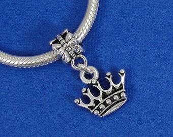 Royal Crown European Dangle Bead Charm - Silver Royal Crown Charm for European Bracelet
