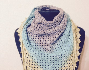 PATTERN - Triangle Crochet Scarf Shawl with tassles