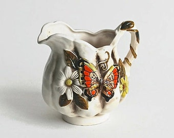 Pitcher, 1970's Ceramic Pitcher Daisy Butterfly Rope HandleRed Orange Yellow