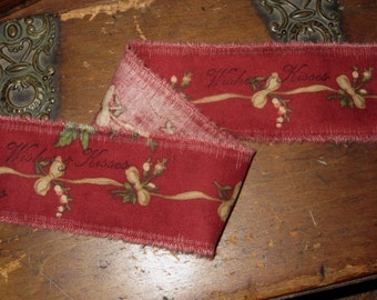 Tattered Aged Christmas Rose Vintage Red Fabric Ribbon Hand Stamped  Wishes & Kisses