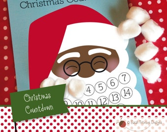 Instant Download Printable Santa's Beard Christmas Countdown Calendar Activity - African American Santa