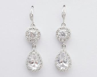 Crystal Wedding Earrings Teardrop Bridal Jewelry Cubic Zirconia Dangle Bridal Earrings Crystal Bridesmaid Earrings, Heba