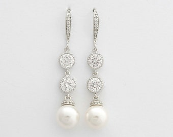 Bridal Earrings Pearl Dangle Wedding Earrings Bridal Pearl Jewelry Cubic Zirconia Pearl Silver Wedding Jewelry, Aubrey