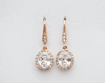 Rose Gold Earring Bridal Jewelry Small Bridal Earrings Oval Crystal Rose Gold Drop Earrings Cubic Zirconia Wedding Jewelry, Emily