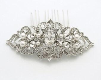 Bridal Hair Comb Silver Pearl Wedding Hair Accessories Bridal Hair Jewelry