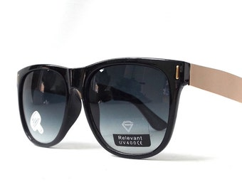 vintage 1990's NOS black wayfarer plastic sunglasses gold metal arm grey gray lens men women fashion accessories accessory sun glasses retro