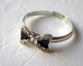 Bow Ring Bow Tie Ring Silver Knot Ring Rhinestone Ring Small Sliver Bow Black Bow Tie Jewelry Adjustable Knot Ring Crystal Bow Tie