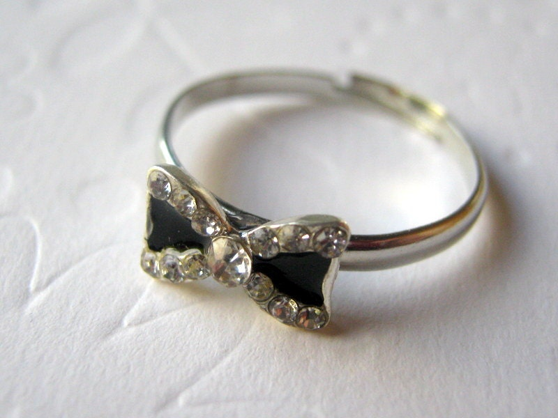bow ring bow tie ring silver knot ring rhinestone by
