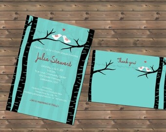 Lovebirds Bridal Shower Invitation Thank You Card Love Birds Bridal Shower Invite Custom Invitation Printable Invitation Bird Theme Invite