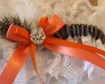 Wedding Garter Set, Charcoal Garter Set, White or Ivory Lace Garter Set, Feather Garter Set, Rhinestone Garter Set  - The HANNAH Set