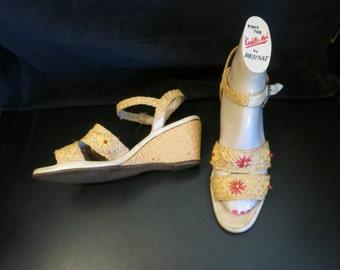 40s 50s  Wedges Ankle Strap Raffia Sz 7.5-8N