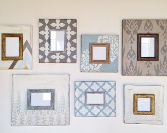 Blue and Metallic gallery Foyer Wall set of Distressed Frames
