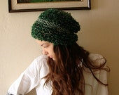 Homeless style, Green Knitted beanie Women Slouch hat  beret Adult cap