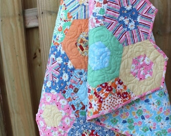 Quilts for Sale  /  Baby Quilts / Custom Quilts / Girl Quilts  /   Crib Bedding /  Hexagon Quilt / Kids Toddler Quilts / Made to Order