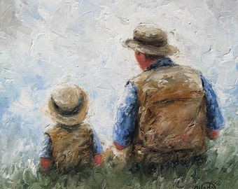 Father Son Talk Art Print dad, son, painting, little boy, sitting, talking, fatherhood, father's day gift, tan, blue, green wall decor