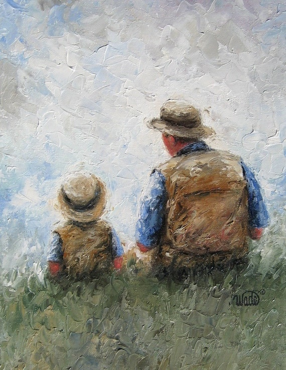 Father Son Talk Art Print dad son painting little boy
